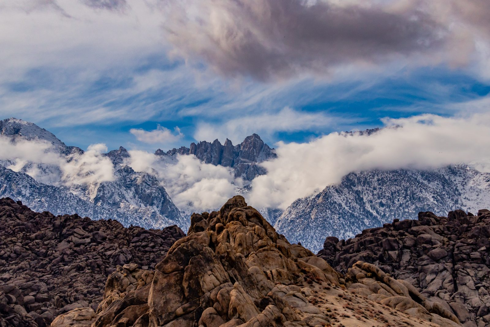 Winter Storm Clouds in The Alabama Hills With Mt Whitney