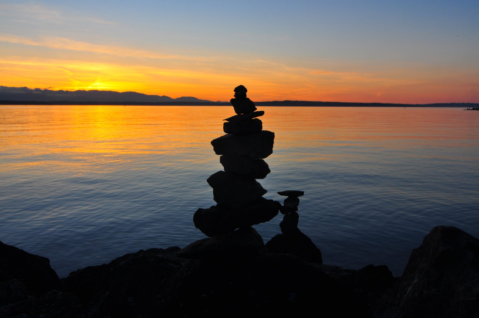 Rock balancing is an art and discipline; a balanced stack of rocks