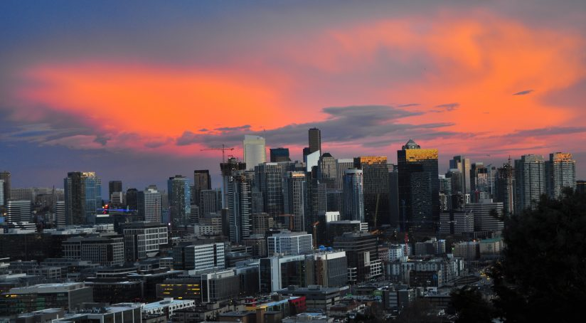 After sunset glow over downtown Seattle
