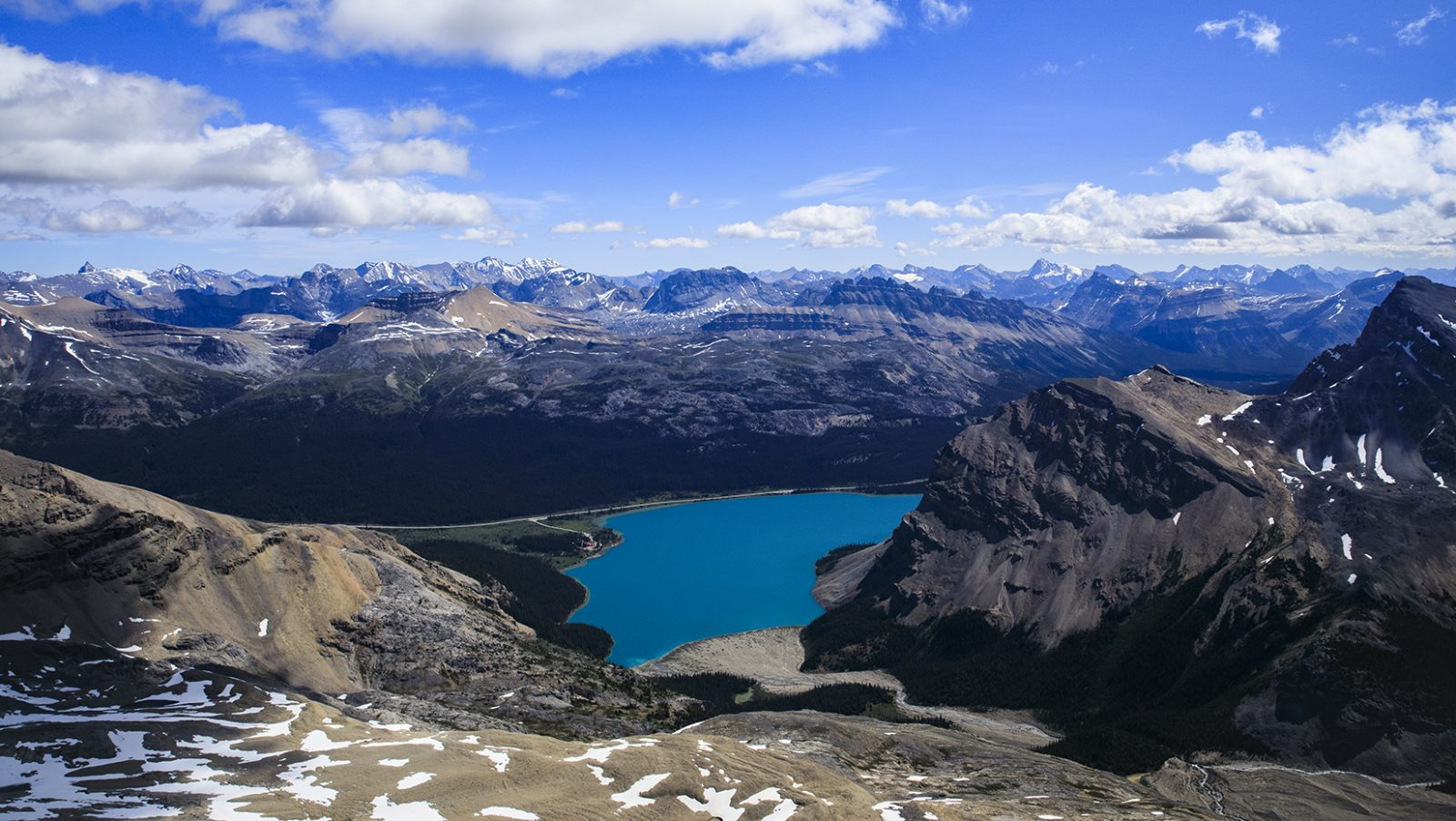 Mount Thompson looking down at Bow Lake
