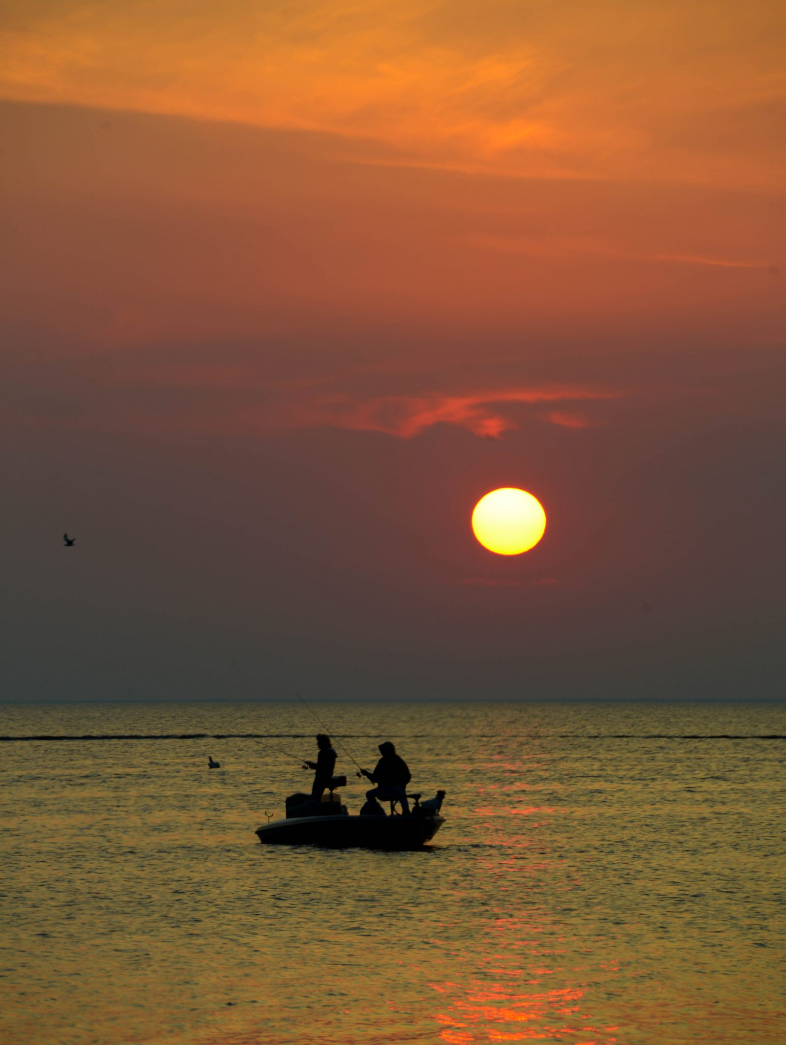 Fishing as the Sun Goes Down