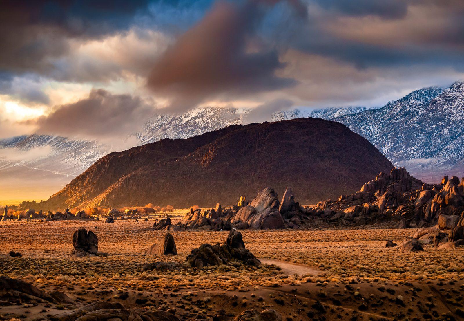 A rare stormy day in the Alabama Hills