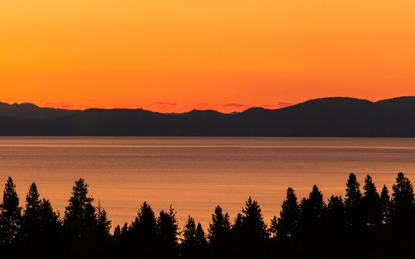 Lake Tahoe Orangy Sunset