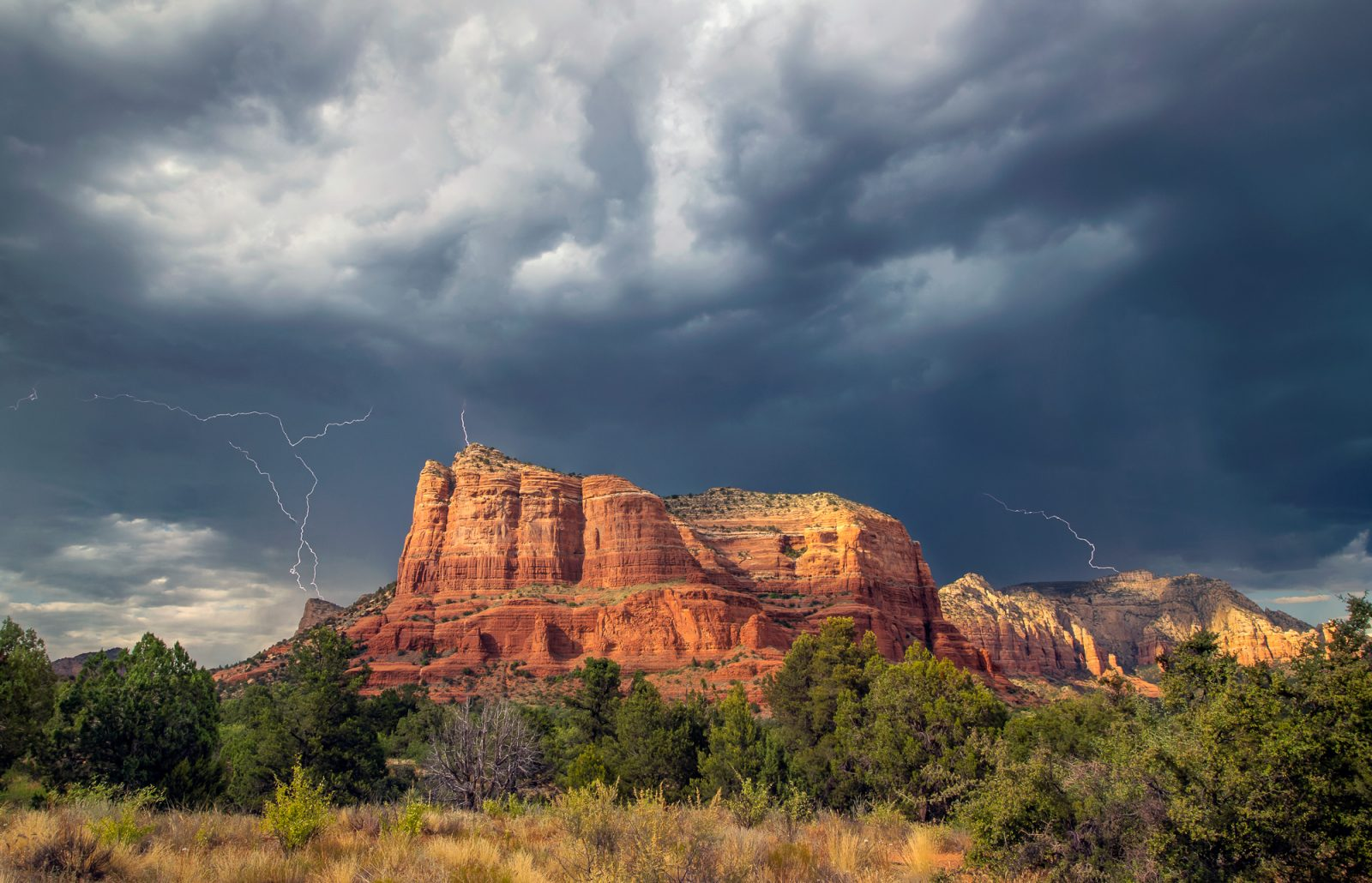 Lightning Over Courthouse Butte