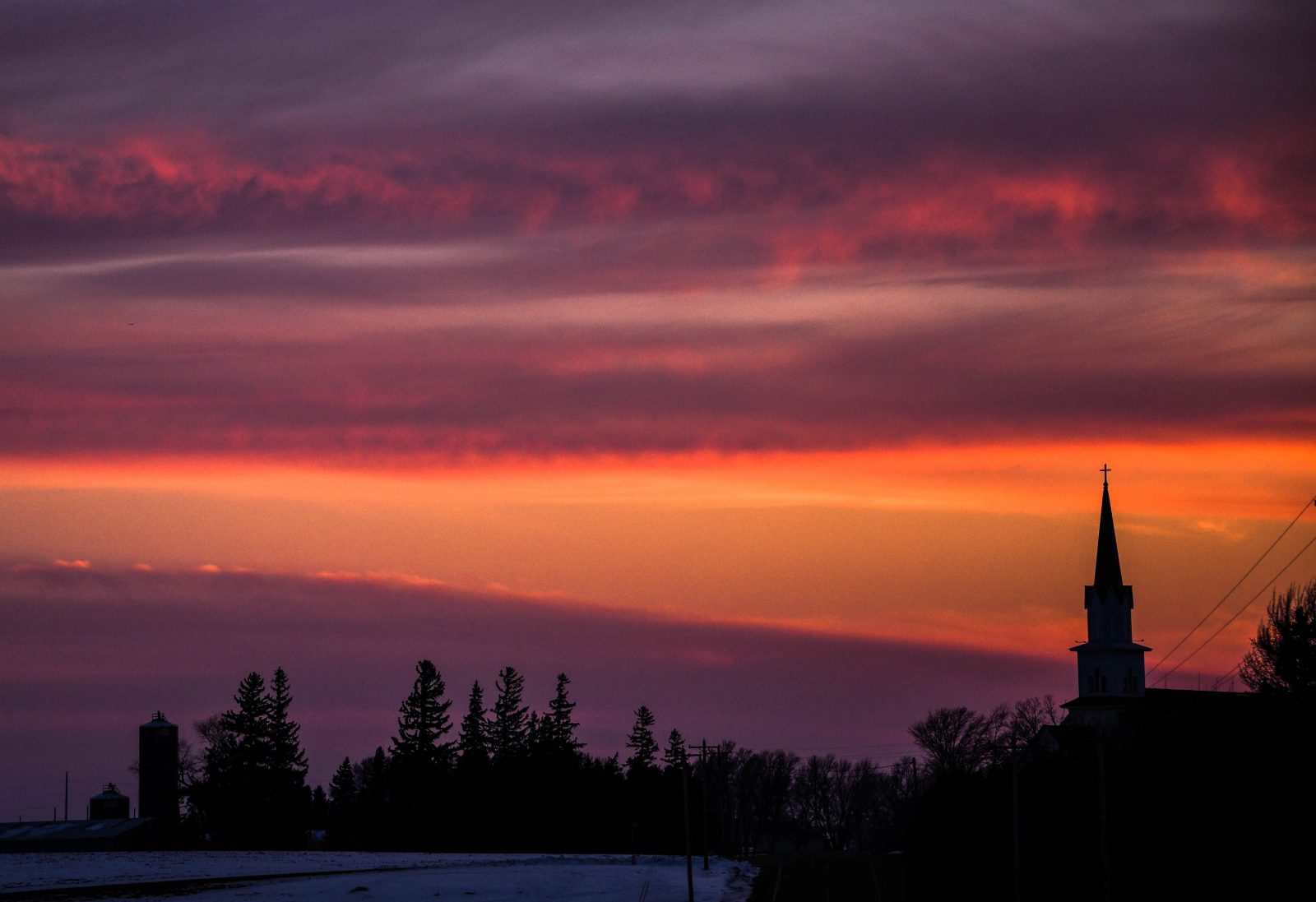 Sunset Behind the Country Church