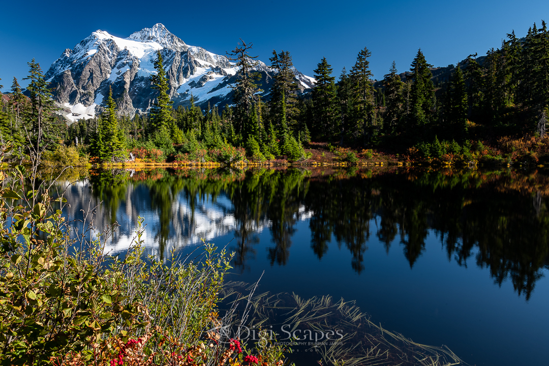 Mt Shuksan reflecting in the water of Highwood Lake