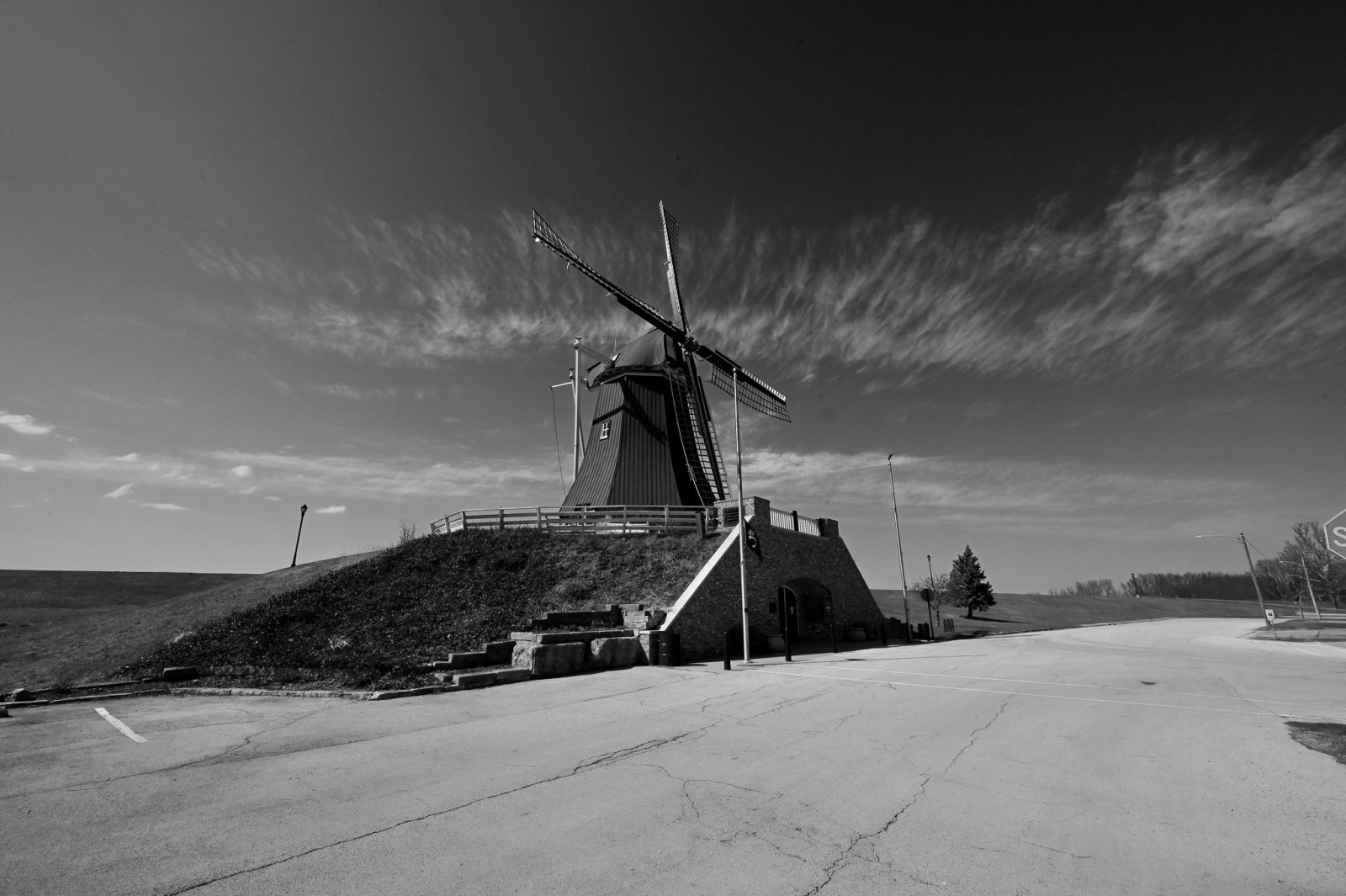 Dutch Windmill With Dusting of Clouds