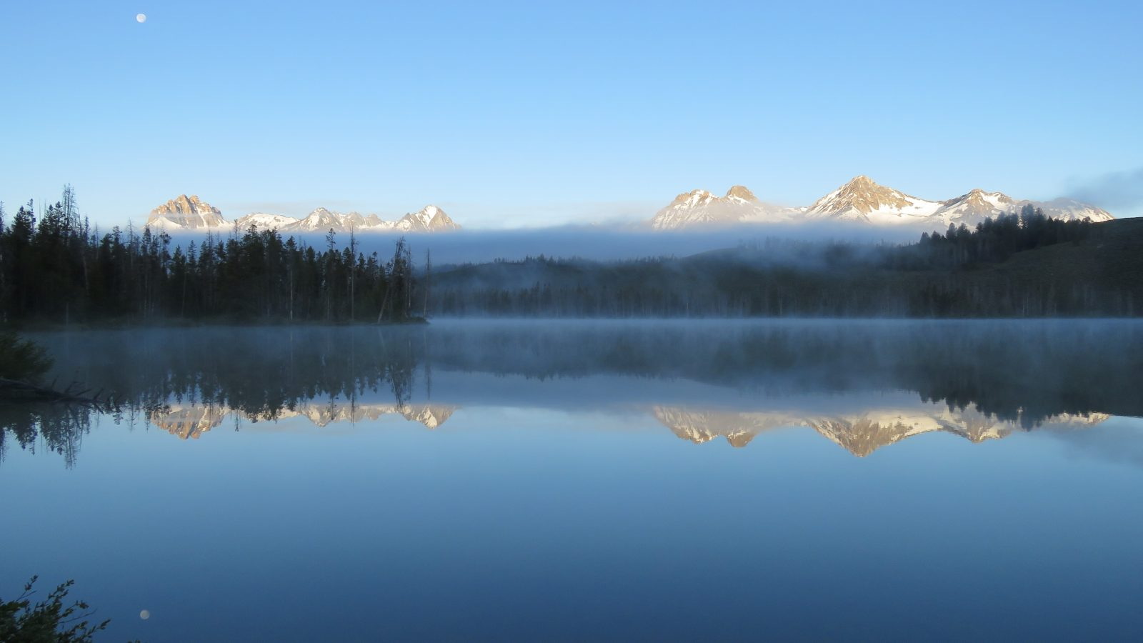 Moon, Fog, and Mountain Reflections