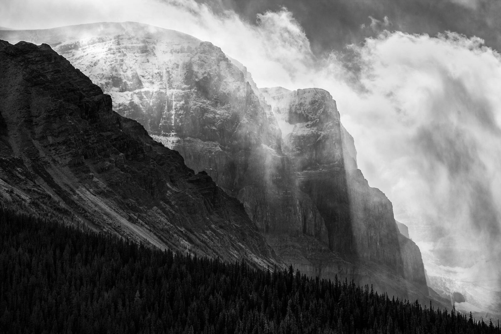Clearing Clouds and Sunbeams, in the Canadian Rockies
