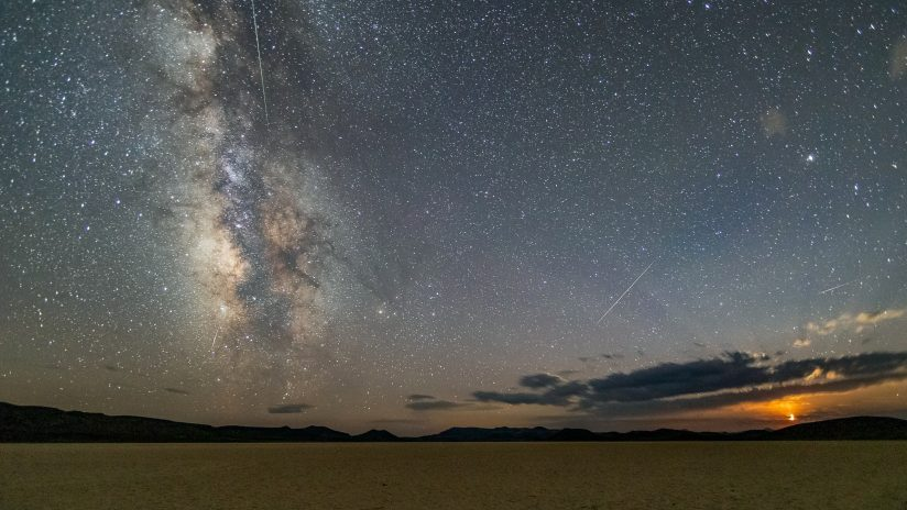 Crescent Moon Set and Perseid Meteors