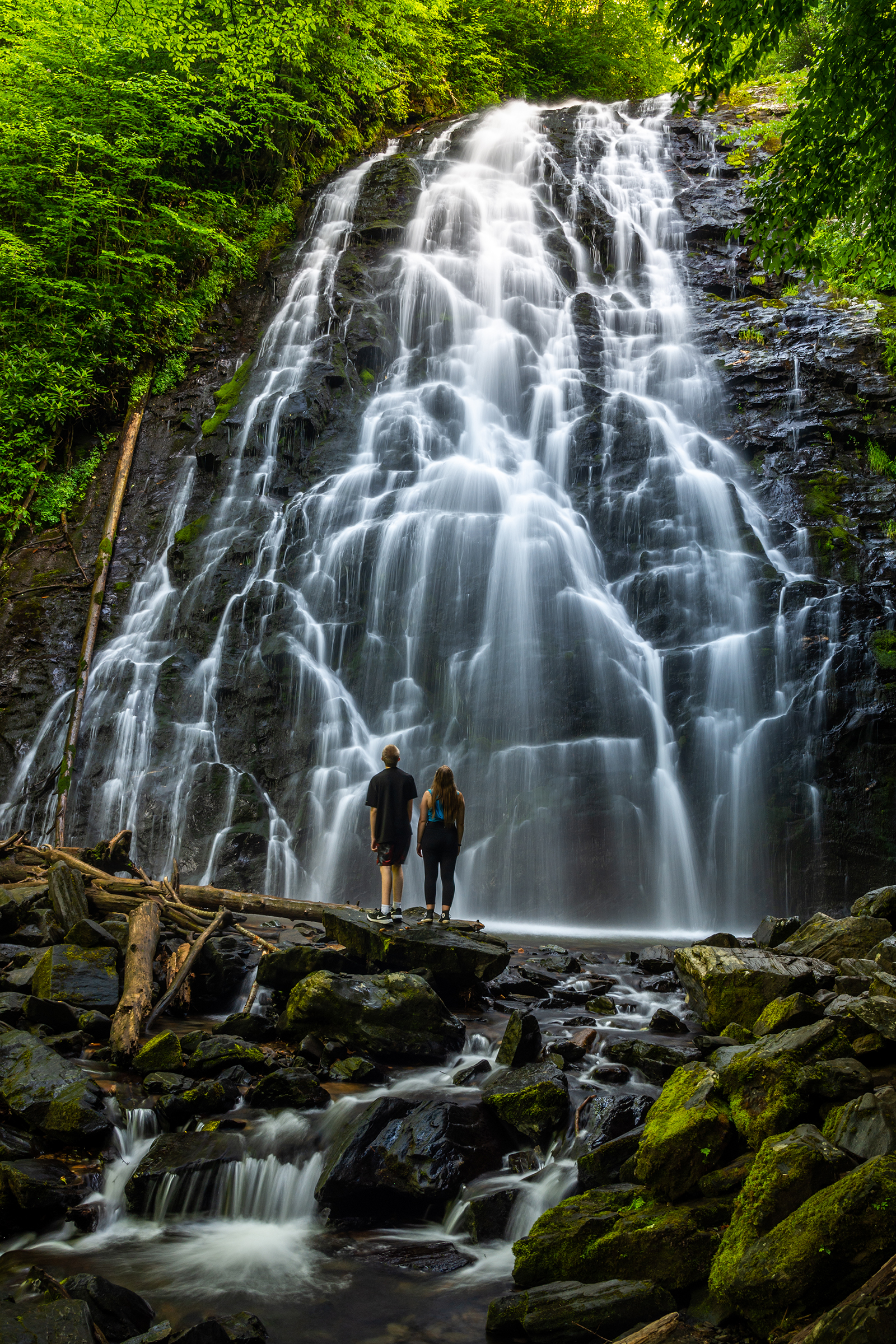 Family Outing to Crabtree Falls Along the BRP