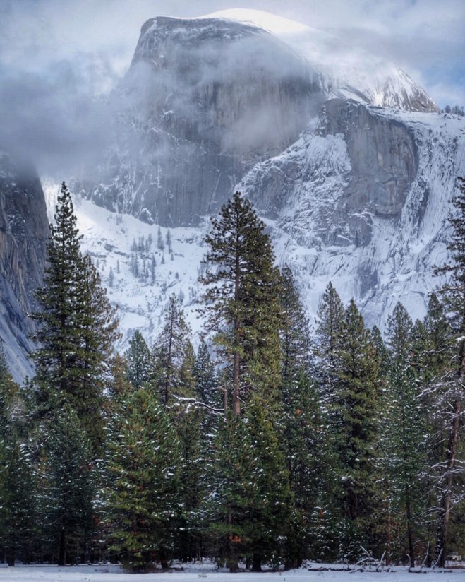 Snow Storm Clearing Over Half Dome