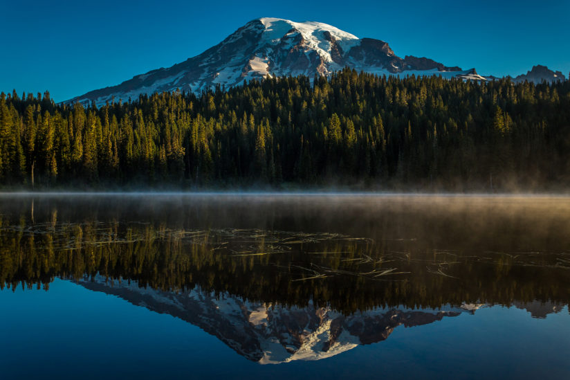 Mt. Rainier at sunrise from Reflection Lakes