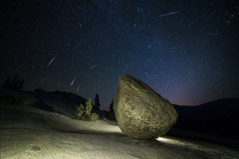Boulder at Olmsted Point, Persieds meteor shower