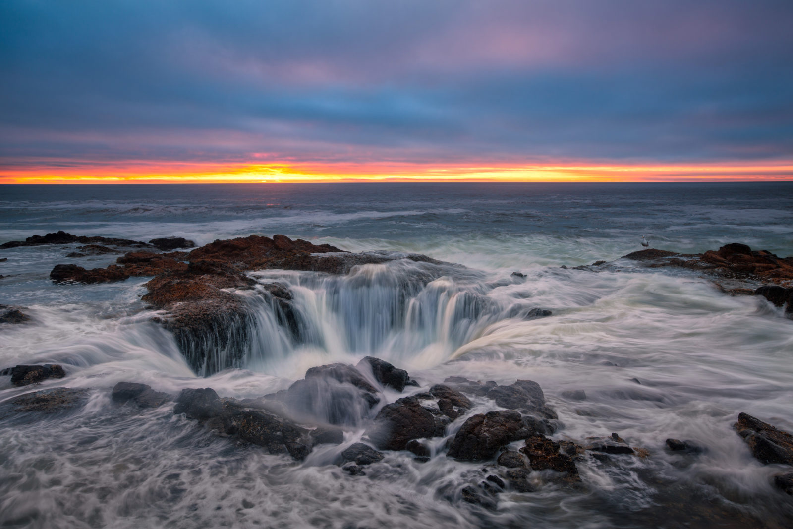 Thor's Well under Sunset