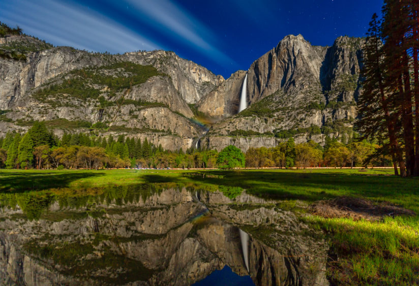 Yosemite Falls Under Moon Light
