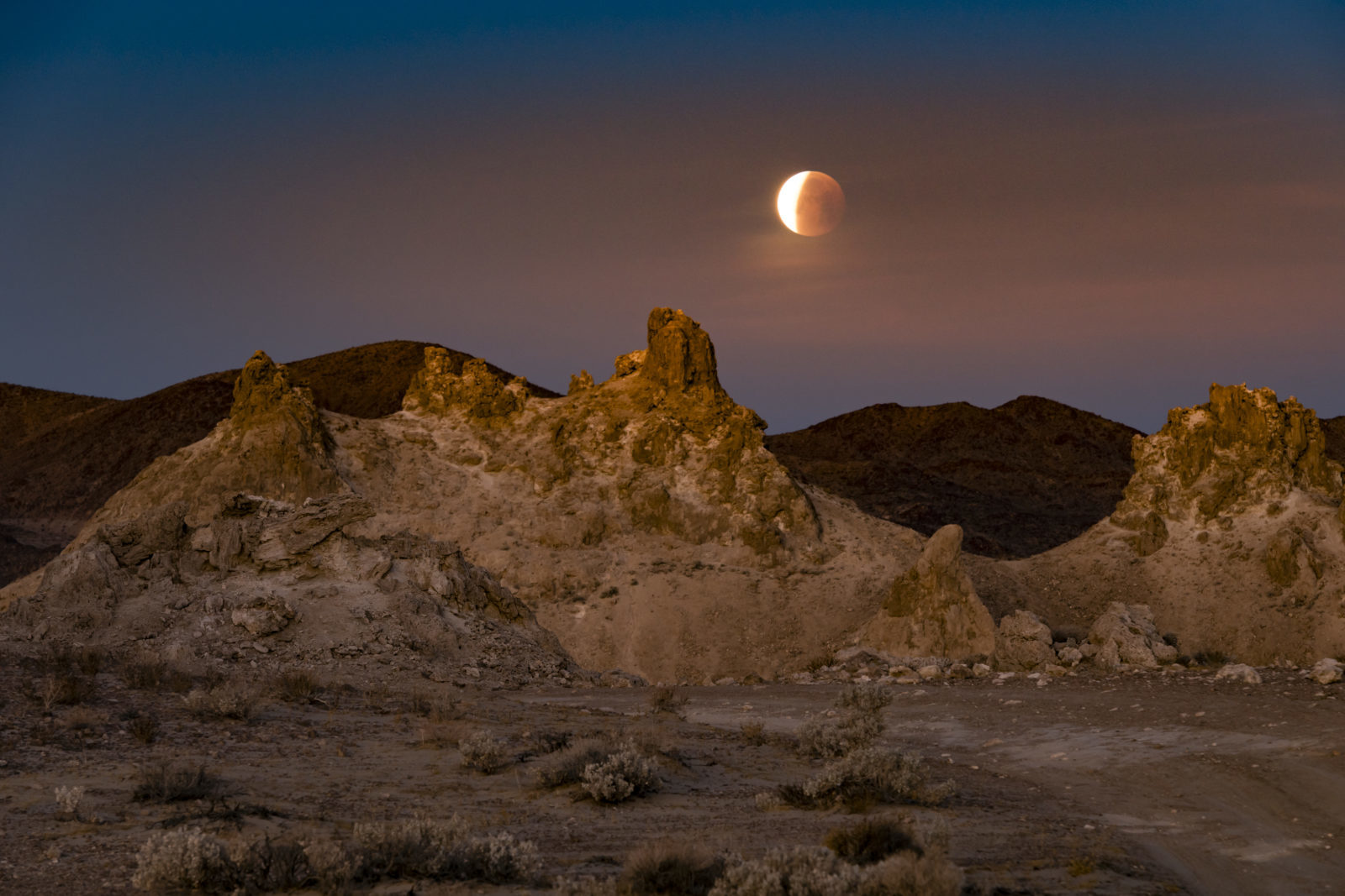 Blue Moon Eclipsing Over Pinnacles
