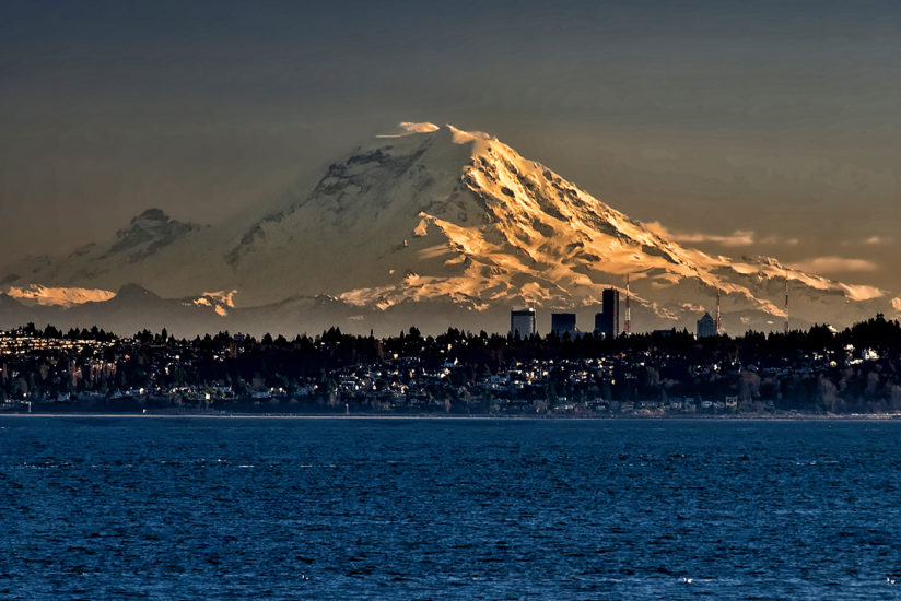 Evening Light on Mt. Rainier From Kingston, WA