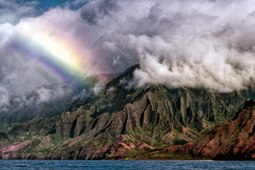 Rainbow Along the Na Pali Coast Kauai, Hawaii