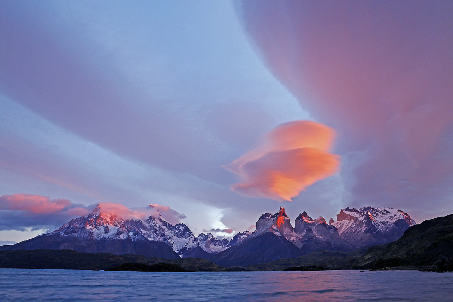 Mountain Sunrise with Lenticular Cloud