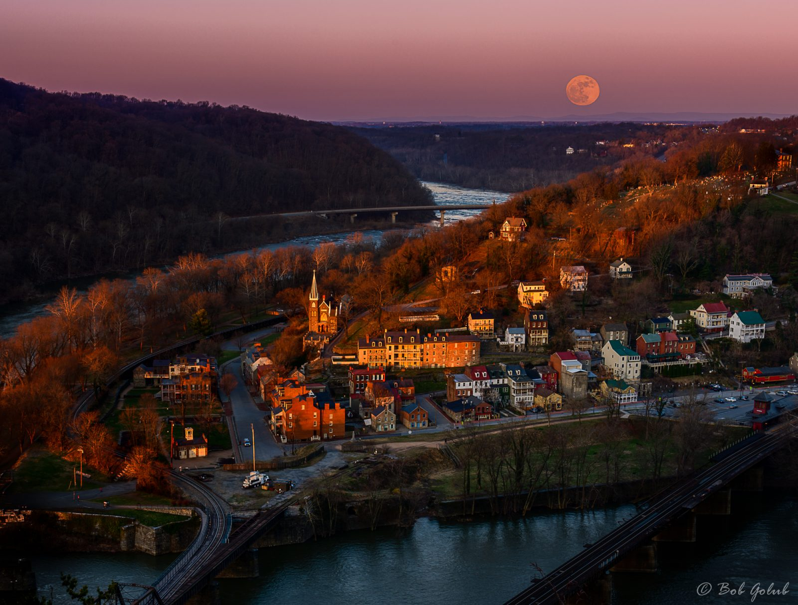 Harper Ferry Sunrise and Moonset