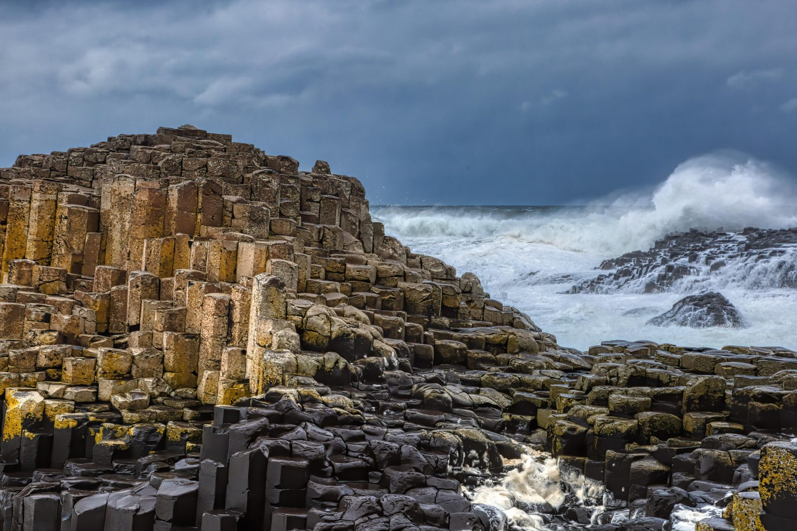 Giants Causeway with Rough Surf