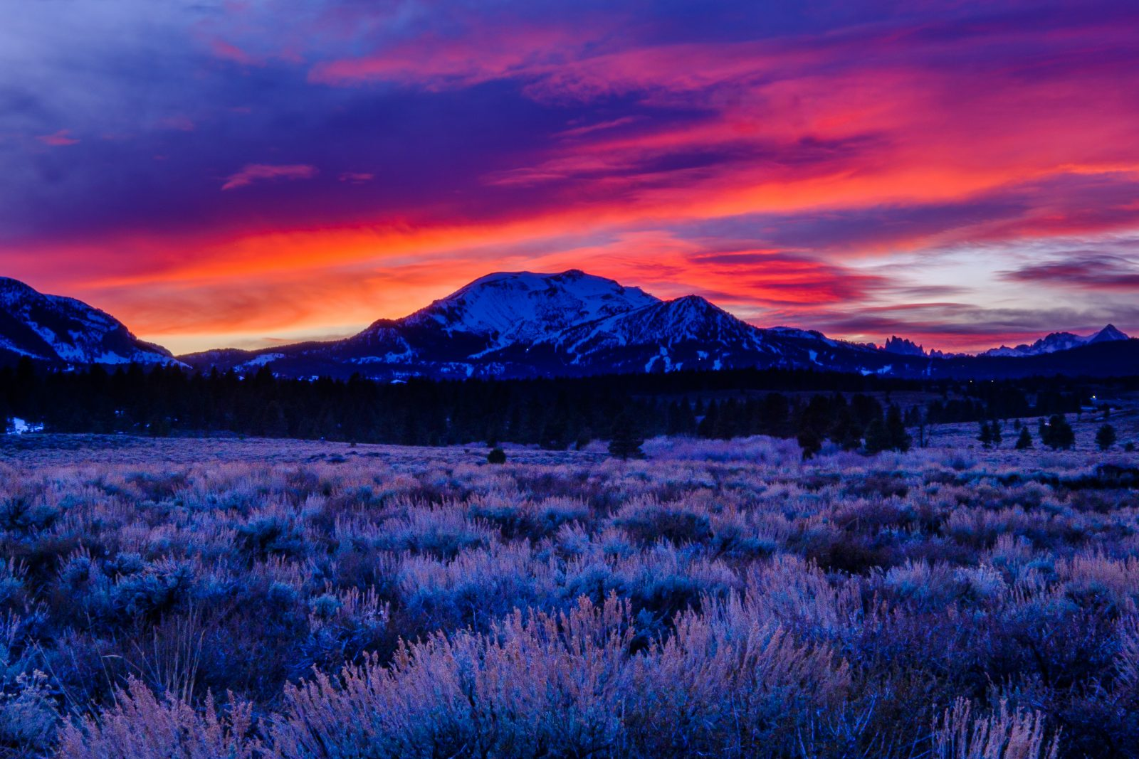 Fiery Sunset behind Mammoth Mountain