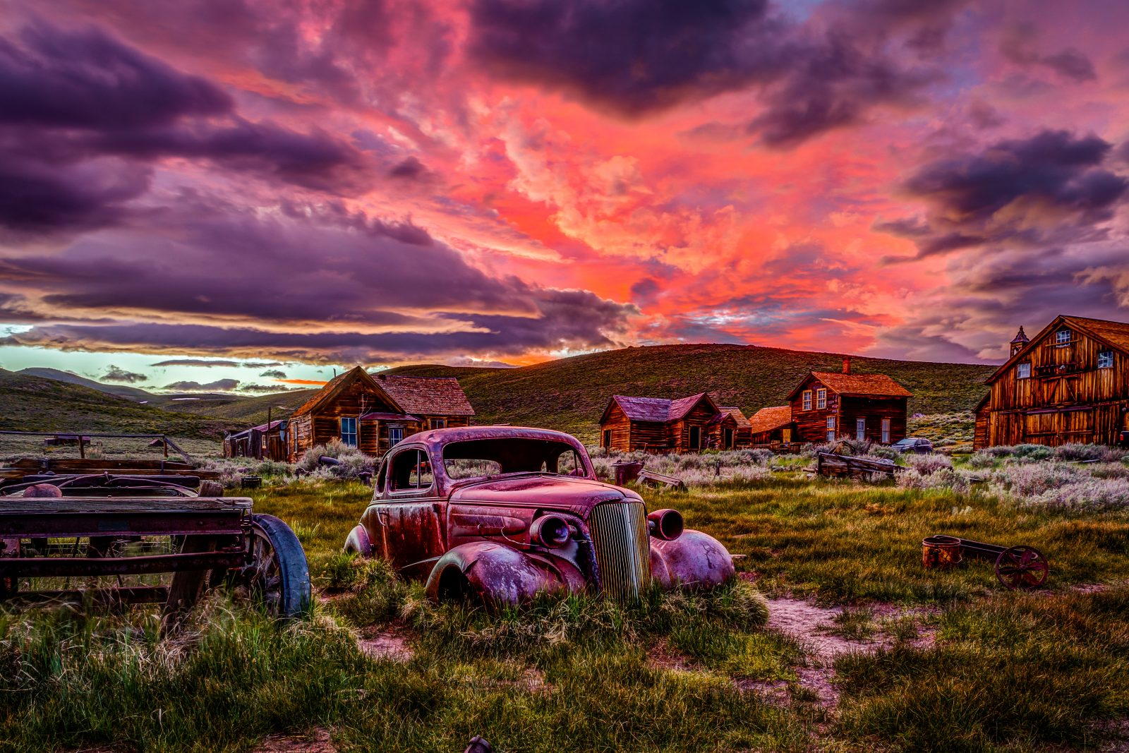 Ghost Town Chevy at Sunset