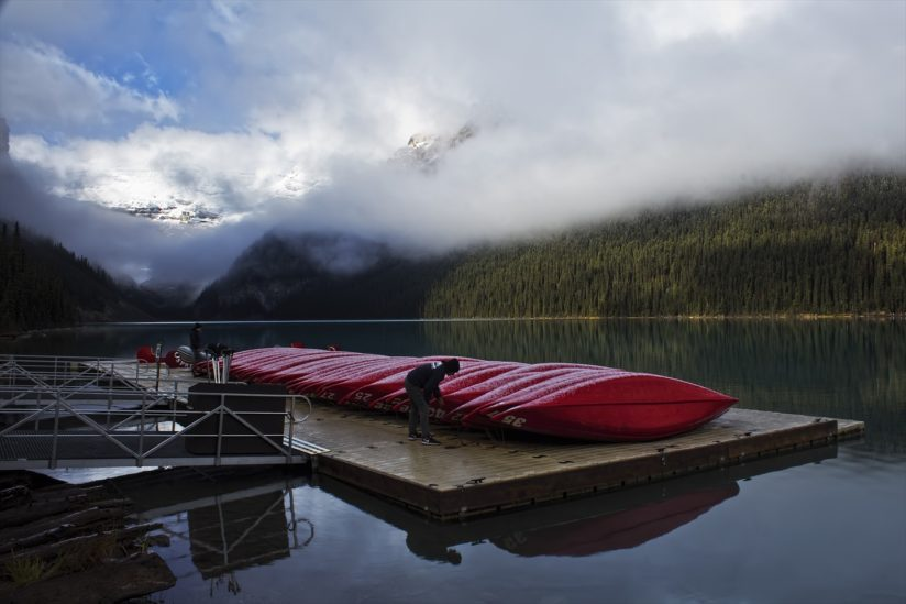 Morning Check of the Lake Louise Canoes