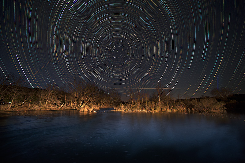 Star Trails over the South Fork of the Llano