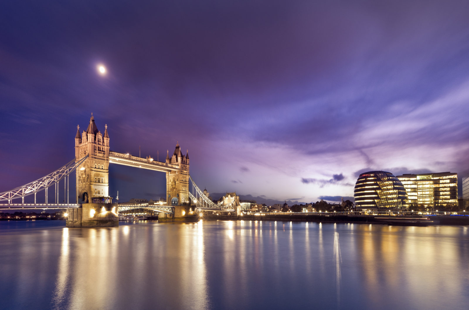 beautiful view of tower bridge and commercial buildings in london