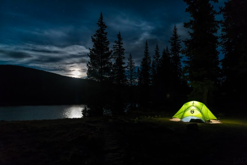 Moonrise Camping by the Lake