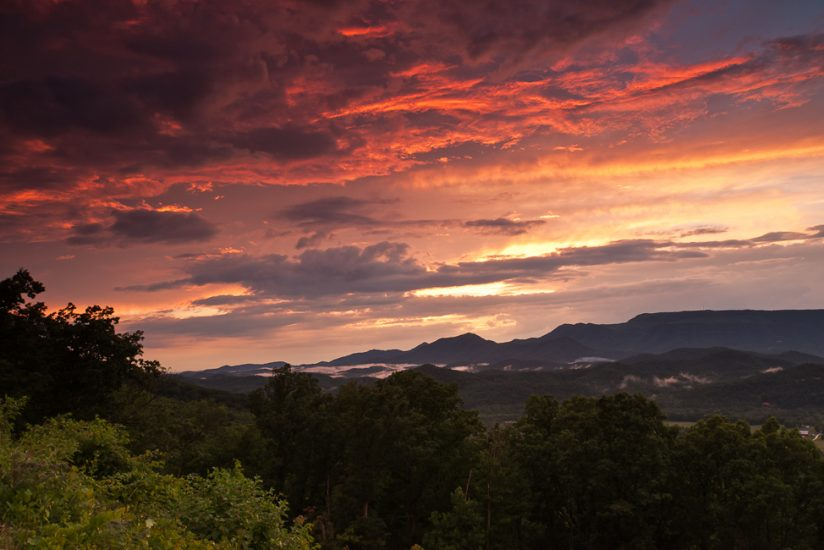 Blue Ridge Parkway sunset storm