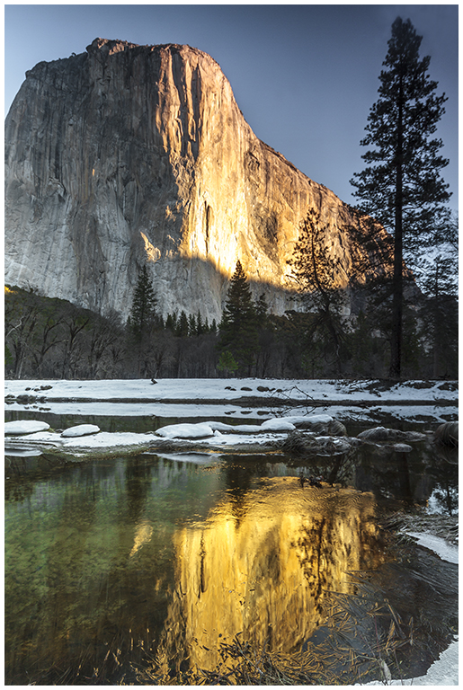 First Light on El Capitan Reflected