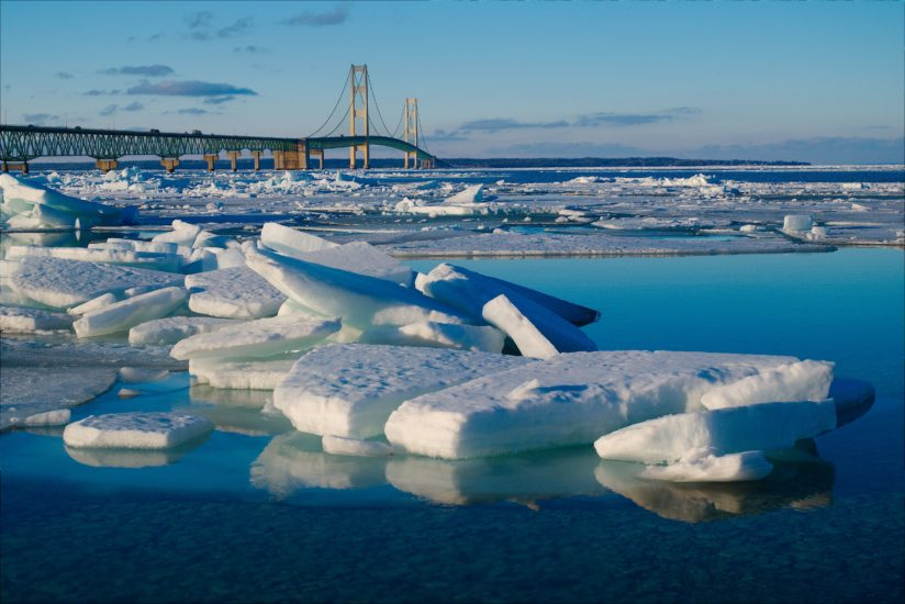 Ice at the Mackinac Bridge