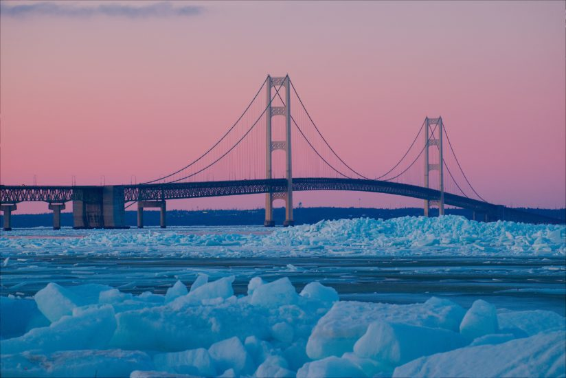 Dusk falling on the Mackinac Bridge