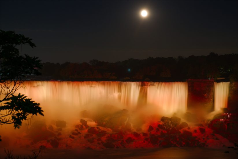 Full moon over American Falls at Niagara
