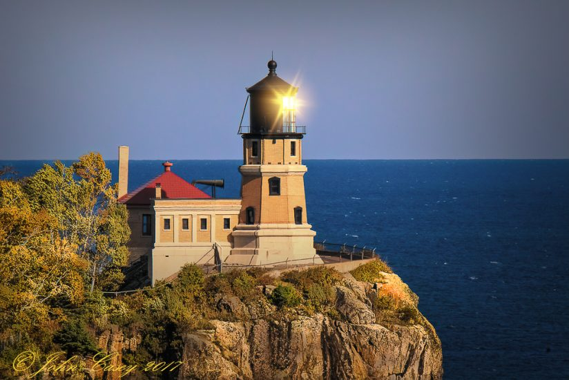 Sun's Reflection Awakens Split Rock Lighthouse
