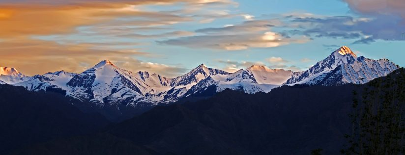 Last rays of sun over Himalayas
