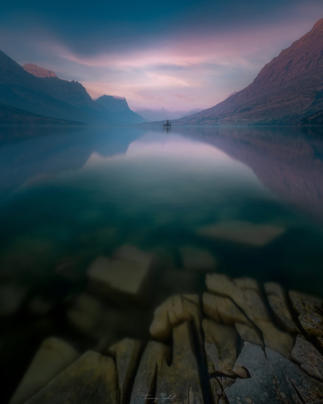 Wild Goose Island in St. Mary's Lake, Glacier National Park (during the worst recorded forest fires in Montana)