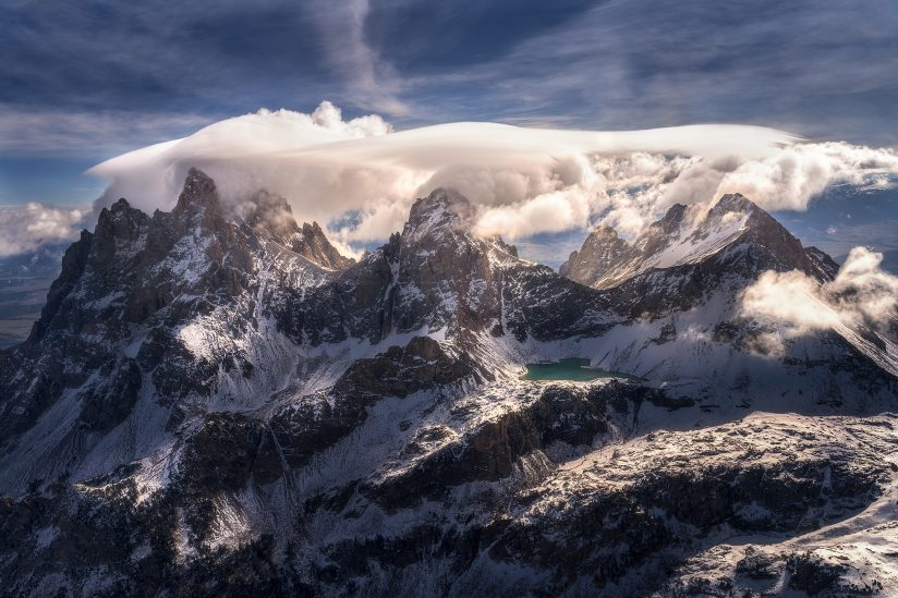 Lenticular clouds forming above the Tetons, Jackson Hole, WY, USA