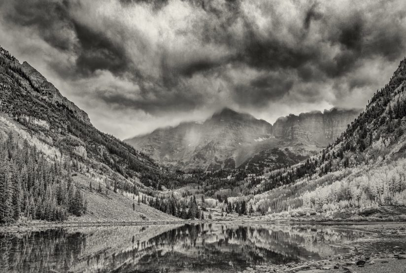 Maroon Bells in Black and White